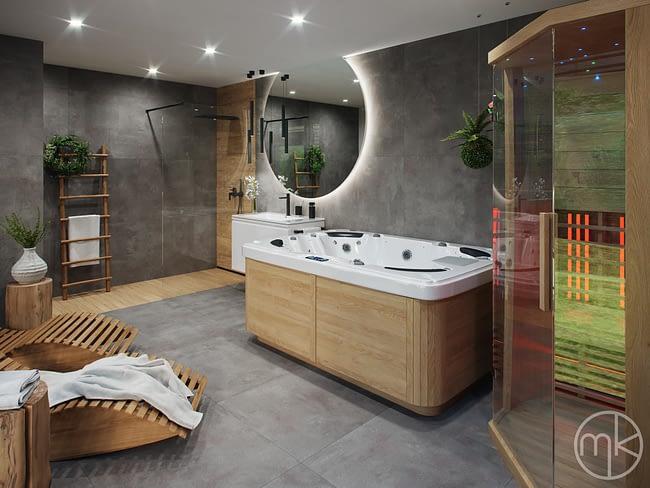 Moderní wellness koupelna na chalupě v Horním Radouně