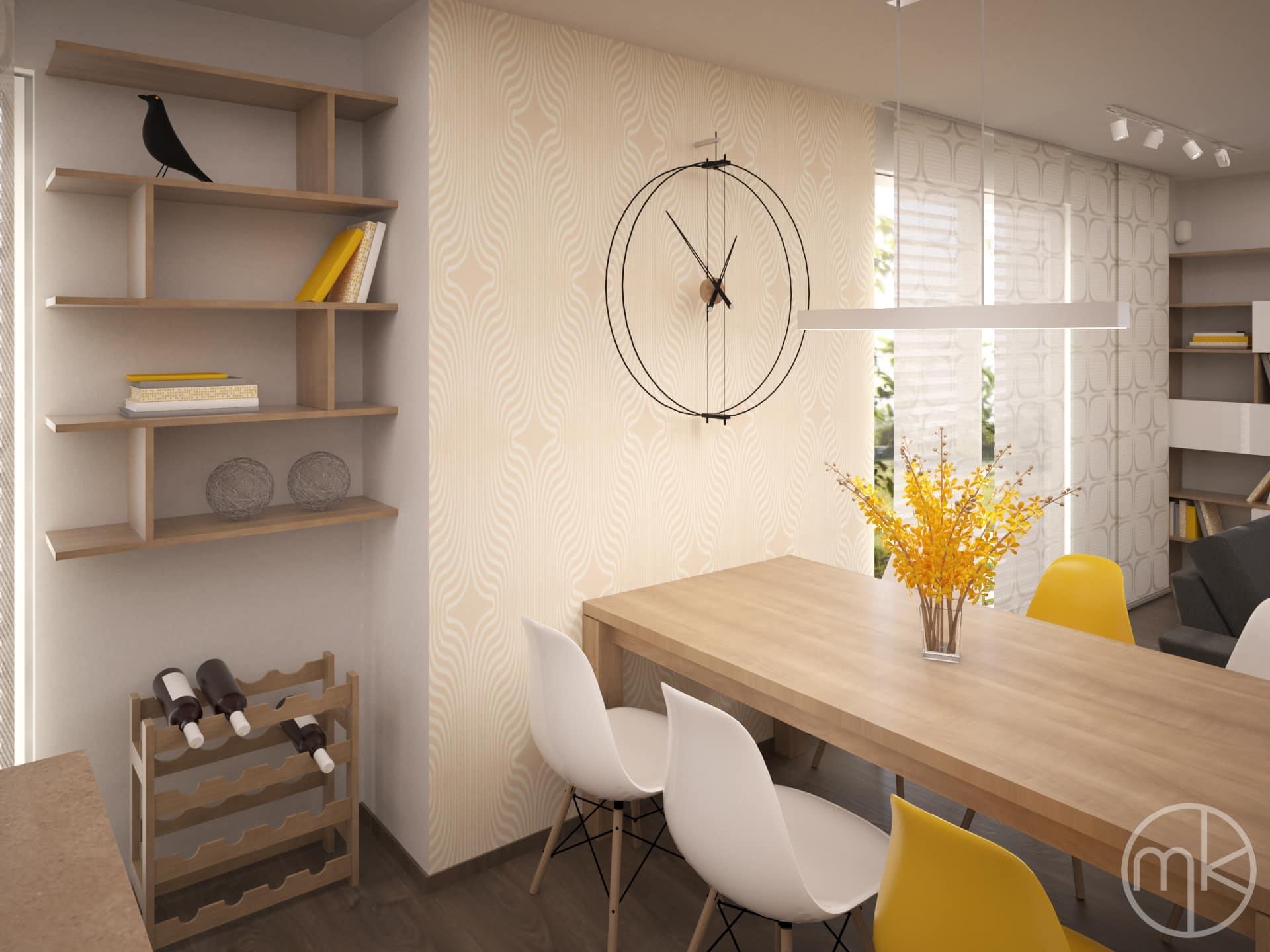 Designové hodiny nad jídelním stolem