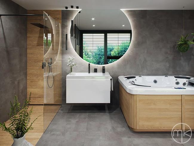 Sprchový kout, velké kruhové zrcadlo s LED podsvícením a vířivka v moderní wellness koupelně