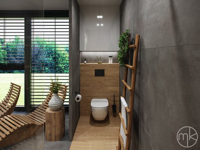 Záchod v soukromém moderním wellness koupelně na chalupě