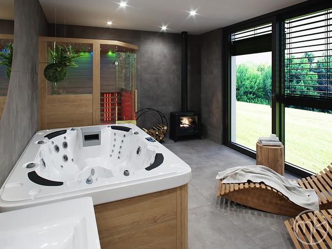 Kamna a infra sauna ve wellness koupelně [lokalita Horní Radouň]