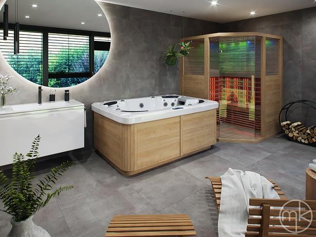 Velké kruhové zrcadlo s LED podsvícením, vířivka a infra sauna v moderní koupelně