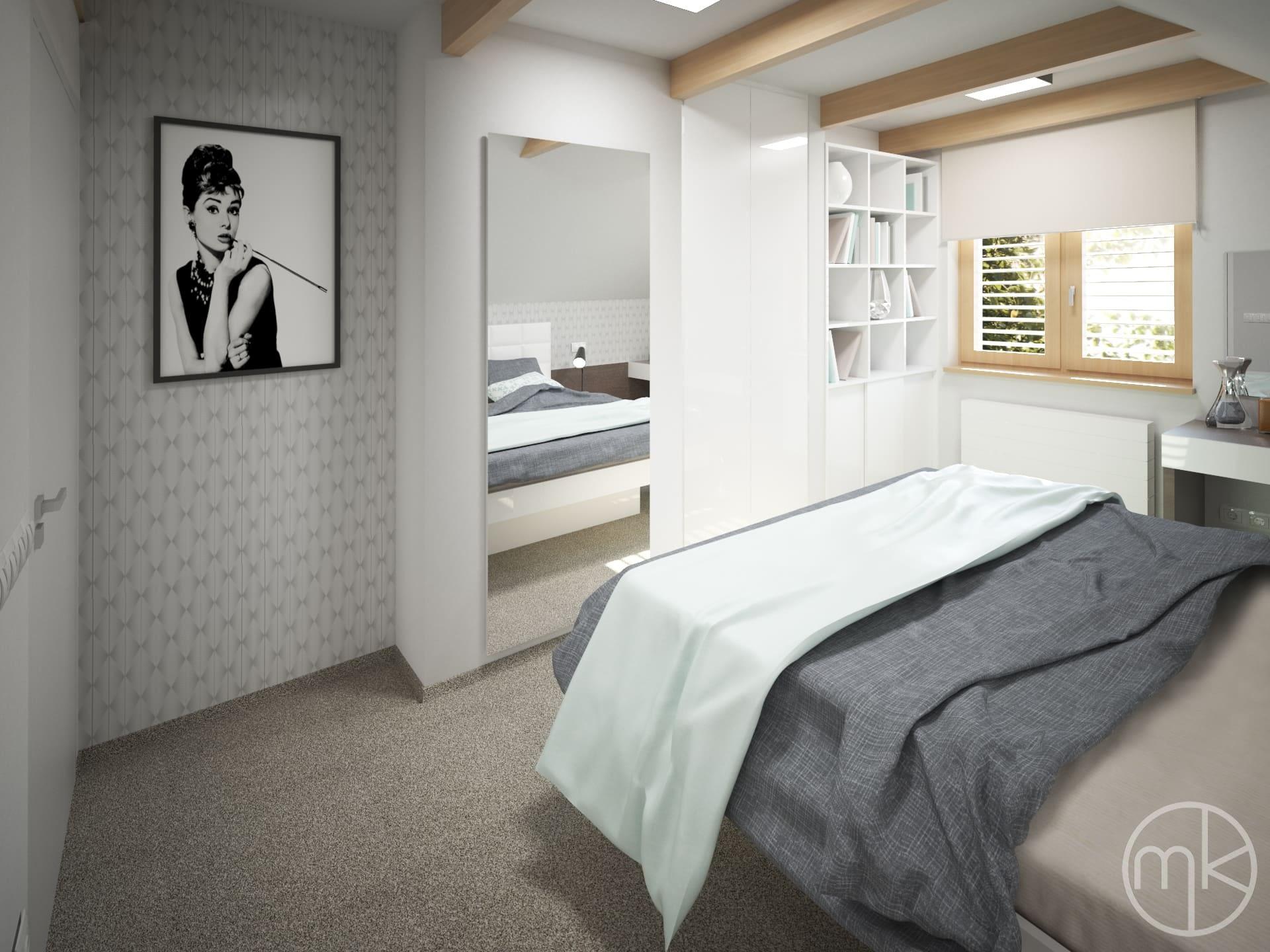 Stříbrná tapeta s obrazem v ložnici