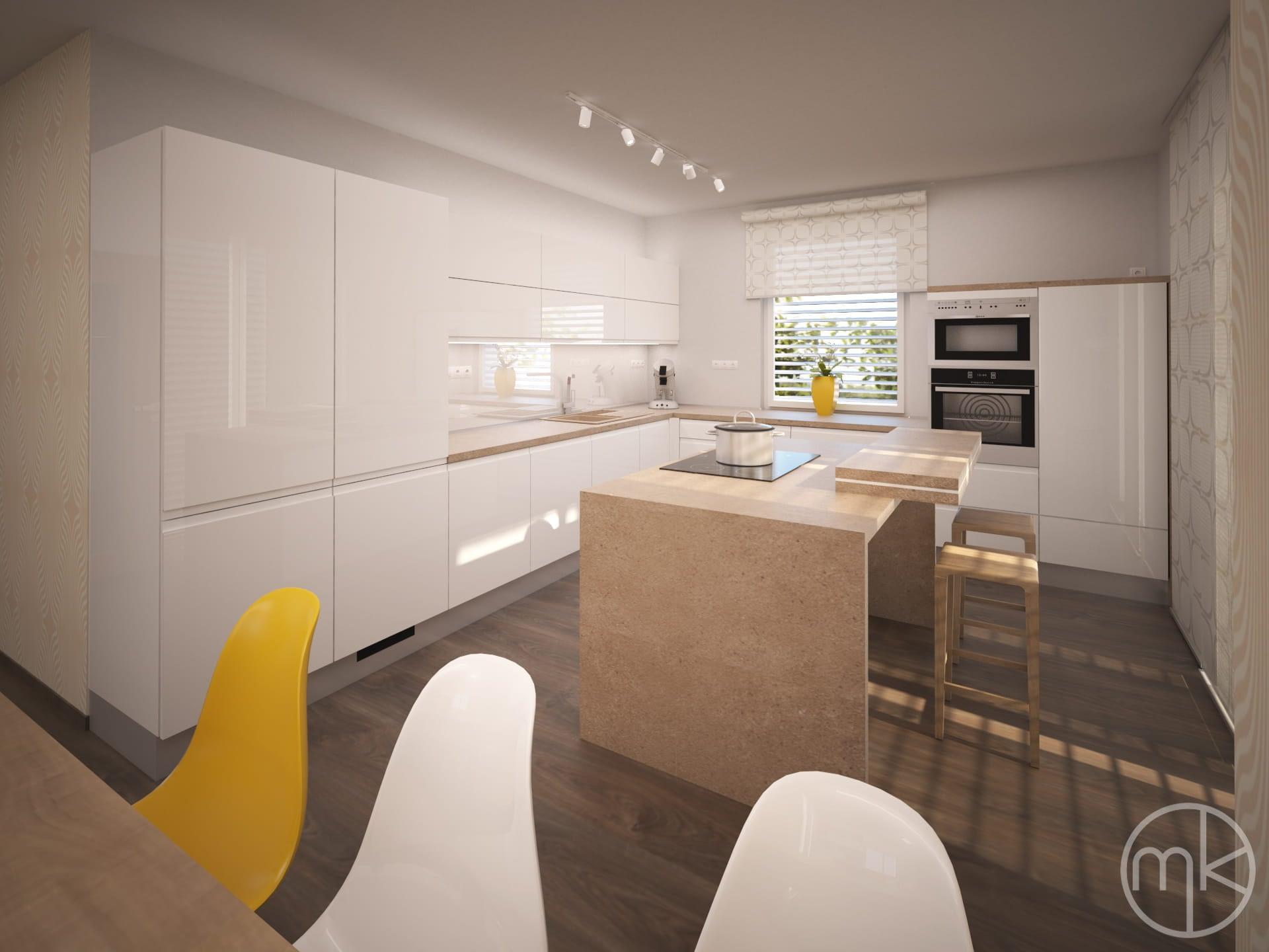 Kuchyň v bílém lesku