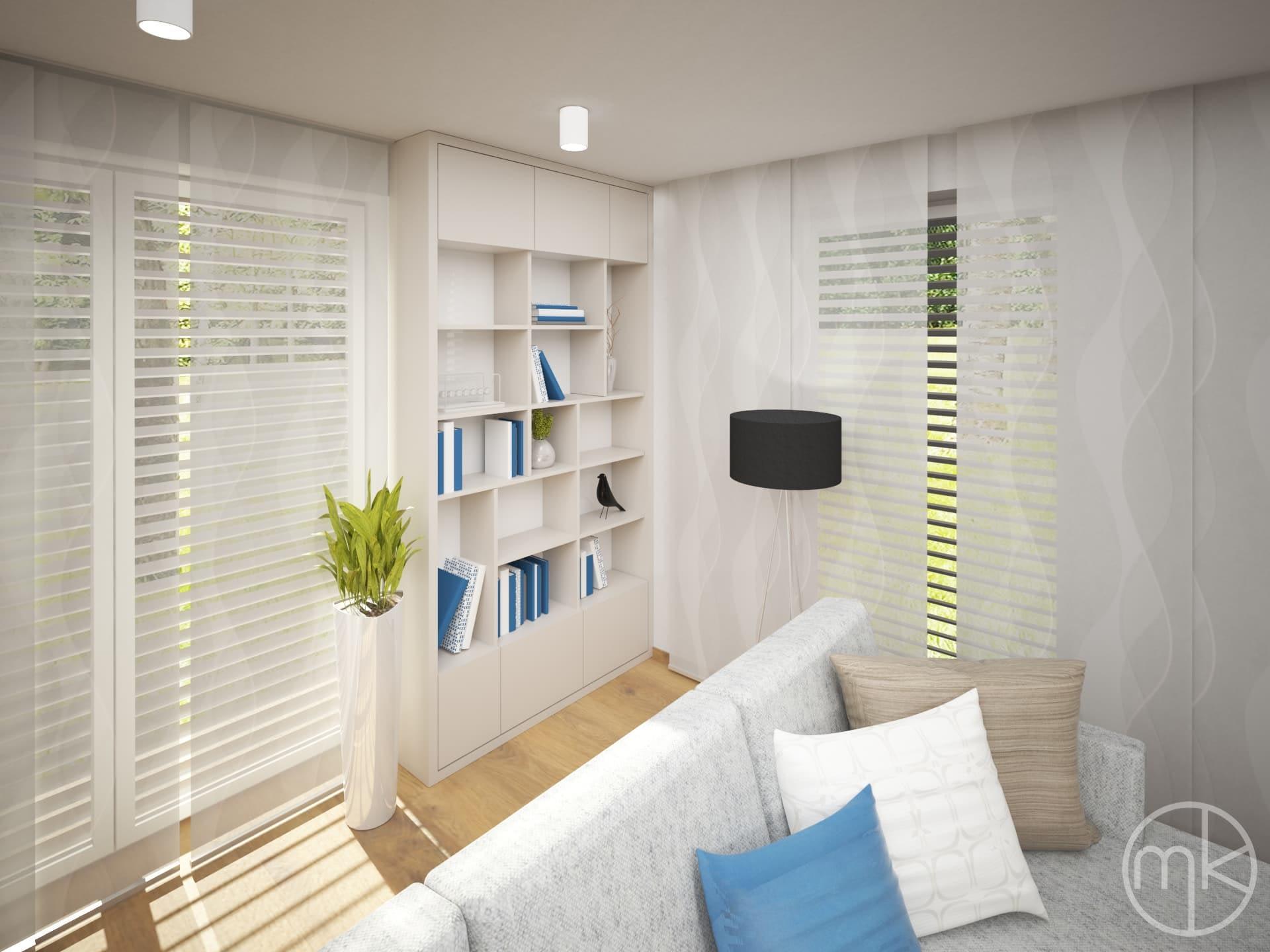 Malá knihovna v obývacím pokoji