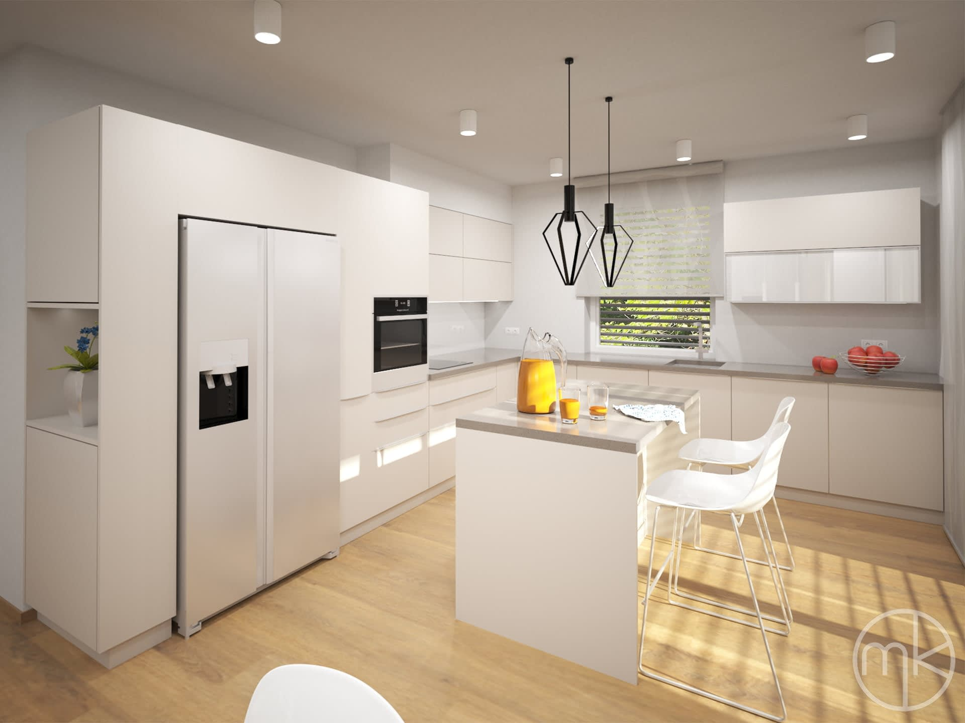 Moderní světla kuchyně v Champagne odstínu