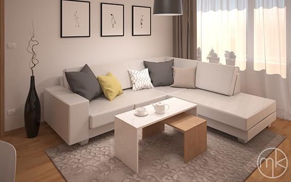moderní obývací pokoj s dřevodekorem